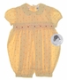 "<img src=""https://p11.secure.hostingprod.com/@grammies-attic.com/ssl/images/blue-sold-1.gif""> NEW Sarah Louise Yellow Flowered Smocked Baby Bubble with Tatted Collar"