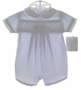"<img src=""https://p11.secure.hostingprod.com/@grammies-attic.com/ssl/images/blue-sold-1.gif""> NEW Petit Ami Pale Blue Smocked Romper with Train Embroidery"
