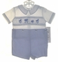 "<img src=""https://p11.secure.hostingprod.com/@grammies-attic.com/ssl/images/blue-sold-1.gif""> NEW Royal Child Blue and White Smocked Button On Shorts Set with Circus Embroidery"