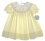"<img src=""https://p11.secure.hostingprod.com/@grammies-attic.com/ssl/images/blue-sold-1.gif""> NEW Jelly 'N Jam Pale Yellow Bishop Smocked Baby Dress with White Scalloped Portrait Collar"