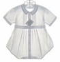 "<img src=""https://p11.secure.hostingprod.com/@grammies-attic.com/ssl/images/blue-sold-1.gif""> NEW Feltman Brothers White Pintucked Romper with Blue Embroidered Collar"