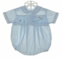 "<img src=""https://p11.secure.hostingprod.com/@grammies-attic.com/ssl/images/blue-sold-1.gif""> Boy's Feltman Brothers Blue Smocked Bubble with Bunny Embroidery"