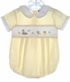 "<img src=""https://p11.secure.hostingprod.com/@grammies-attic.com/ssl/images/blue-sold-1.gif""> Carriage Boutiques Yellow Checked Shortall with Smocking and Embroidered Ducks"