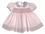 "<img src=""https://p11.secure.hostingprod.com/@grammies-attic.com/ssl/images/blue-sold-1.gif""> Carriage Boutiques Pale Pink Smocked Baby Dress with Embroidery and Satin Ribbon Trim"