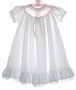 "<img src=""https://p11.secure.hostingprod.com/@grammies-attic.com/ssl/images/blue-sold-1.gif""> Adorable Long White Dress with Pink Rosebuds and Ruffled Hem"