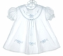 "<img src=""https://p11.secure.hostingprod.com/@grammies-attic.com/ssl/images/blue-sold-1.gif""> Will'Beth White Batiste Baby Dress with Blue and White Embroidery and Blue Satin Ribbon"
