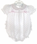 "<img src=""https://p11.secure.hostingprod.com/@grammies-attic.com/ssl/images/blue-sold-1.gif""> Alexis White Ruffled White Baby Bubble and Matching Bonnet with Pink Rosebuds"