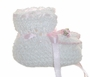 "<img src=""https://p11.secure.hostingprod.com/@grammies-attic.com/ssl/images/blue-sold-1.gif""> NEW White Crocheted Booties with Pink Rosebud Trim"
