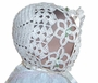 "<img src=""https://p11.secure.hostingprod.com/@grammies-attic.com/ssl/images/blue-sold-1.gif""> NEW Heirloom Style Cream Cotton Crocheted Christening Bonnet with Matching Booties"