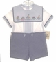 "<img src=""https://p11.secure.hostingprod.com/@grammies-attic.com/ssl/images/blue-sold-1.gif""> NEW Judy Lynn Blue Checked Button On Shorts Set with Sailboat Applique"