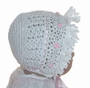 "<img src=""https://p11.secure.hostingprod.com/@grammies-attic.com/ssl/images/blue-sold-1.gif""> NEW White Cotton Crocheted Baby Bonnet with Pink Rosebuds and Matching Booties"