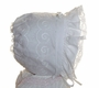 "<img src=""https://p11.secure.hostingprod.com/@grammies-attic.com/ssl/images/blue-sold-1.gif""> White Batiste Bonnet with Scroll Pattern and Lace Edged Ruffle"