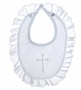 "<img src=""https://p11.secure.hostingprod.com/@grammies-attic.com/ssl/images/blue-sold-1.gif""> NEW Alexis Christening Bib with Embroidered Cross and Eyelet Ruffle"