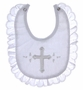 "<img src=""https://p11.secure.hostingprod.com/@grammies-attic.com/ssl/images/blue-sold-1.gif""> NEW Alexis White Christening Bib with Cross Embroidery and Lace Edging"