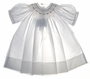 "<img src=""https://p11.secure.hostingprod.com/@grammies-attic.com/ssl/images/blue-sold-1.gif""> NEW Feltman Brothers White Bishop Smocked Baby Dress with Pink Embroidery"