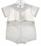 "<img src=""https://p11.secure.hostingprod.com/@grammies-attic.com/ssl/images/blue-sold-1.gif""> NEW Feltman Brothers White Button on Shorts Set with Pintucked Collar"