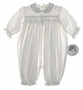 "<img src=""https://p11.secure.hostingprod.com/@grammies-attic.com/ssl/images/blue-sold-1.gif""> NEW Sarah Louise Ivory Smocked Baby Romper with Blue Embroidered Rosebuds"
