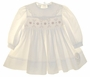 "<img src=""https://p11.secure.hostingprod.com/@grammies-attic.com/ssl/images/blue-sold-1.gif""> NEW Sarah Louise Ivory Smocked Baby Dress with Peach Rosebuds"