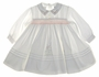 "<img src=""https://p11.secure.hostingprod.com/@grammies-attic.com/ssl/images/blue-sold-1.gif""> NEW Sarah Louise Ivory Smocked Baby Dress with Pintucks and Floral Embroidered Collar"
