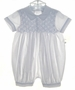 "<img src=""https://p11.secure.hostingprod.com/@grammies-attic.com/ssl/images/blue-sold-1.gif""> NEW Sarah Louise White Smocked Romper with Blue Embroidery"