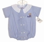 "<img src=""https://p11.secure.hostingprod.com/@grammies-attic.com/ssl/images/blue-sold-1.gif""> NEW Alexis Blue Striped Baby Romper with Teddy Bear Embroidery"