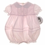 "<img src=""https://p11.secure.hostingprod.com/@grammies-attic.com/ssl/images/blue-sold-1.gif""> NEW Sarah Louise Pink Baby Bubble with Pintucks and Embroidery and Matching Bonnet"
