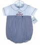 "<img src=""https://p11.secure.hostingprod.com/@grammies-attic.com/ssl/images/blue-sold-1.gif""> NEW Alexis Navy Checked Cotton Baby Romper with Rocking Horse Embroidery"