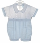 "<img src=""https://p11.secure.hostingprod.com/@grammies-attic.com/ssl/images/blue-sold-1.gif""> NEW Will'Beth Blue and White Cotton Romper with Openwork Embroidery and Matching Hat"
