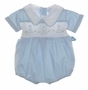 "<img src=""https://p11.secure.hostingprod.com/@grammies-attic.com/ssl/images/blue-sold-1.gif""> NEW Willbeth Blue Smocked Romper with Embroidered Bunnies"