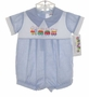 "<img src=""https://p11.secure.hostingprod.com/@grammies-attic.com/ssl/images/blue-sold-1.gif""> NEW Alexis Blue Checked Baby Romper with Embroidered Train"