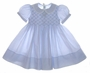 "<img src=""https://p11.secure.hostingprod.com/@grammies-attic.com/ssl/images/blue-sold-1.gif""> NEW Feltman Brothers Blue Smocked Dress with Lace Trimmed Collar"