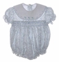 "<img src=""https://p11.secure.hostingprod.com/@grammies-attic.com/ssl/images/blue-sold-1.gif""> Feltman Brothers Blue Floral Smocked Baby Romper with Embroidered White Collar"