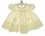 "<img src=""https://p11.secure.hostingprod.com/@grammies-attic.com/ssl/images/blue-sold-1.gif""> NEW Feltman Brothers Pale Yellow Smocked Baby Dress with Lace Trimmed Collar and Pockets"