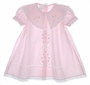 "<img src=""https://p11.secure.hostingprod.com/@grammies-attic.com/ssl/images/blue-sold-1.gif""> Garden of Angels Pale Pink Baby Dress with Lace Insertion and Embroidered Flowers"