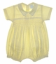 "<img src=""https://p11.secure.hostingprod.com/@grammies-attic.com/ssl/images/blue-sold-1.gif""> NEW Willbeth Yellow Smocked Romper with White Trim"