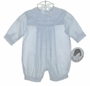 "<img src=""https://p11.secure.hostingprod.com/@grammies-attic.com/ssl/images/blue-sold-1.gif""> NEW Sarah Louise Blue Baby Romper with Embroidered Cars"