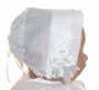 "<img src=""https://p11.secure.hostingprod.com/@grammies-attic.com/ssl/images/blue-sold-1.gif""> NEW White Linen Keepsake Hanky Bonnet with White Crocheted Lace Trim"