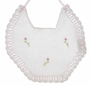 "<img src=""https://p11.secure.hostingprod.com/@grammies-attic.com/ssl/images/blue-sold-1.gif""> NEW White Cotton Crocheted Bib with Pink Rosebuds"