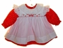 "<img src=""https://p11.secure.hostingprod.com/@grammies-attic.com/ssl/images/blue-sold-1.gif""> NEW Red Flowered Baby Dress with White Eyelet Trimmed Pinafore"