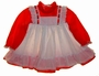 "<img src=""https://p11.secure.hostingprod.com/@grammies-attic.com/ssl/images/blue-sold-1.gif""> Red and White Pinafore Style Dress with Red Satin Ribbon Insertion"