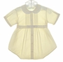 "<img src=""https://p11.secure.hostingprod.com/@grammies-attic.com/ssl/images/blue-sold-1.gif""> NEW Pastels by Feltman Brothers Pale Yellow Pintucked Romper with Fagoted Collar"