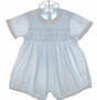 "<img src=""https://p11.secure.hostingprod.com/@grammies-attic.com/ssl/images/blue-sold-1.gif""> Feltman Brothers Pale Blue Smocked Romper with Fagoted Collar"