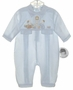 "<img src=""https://p11.secure.hostingprod.com/@grammies-attic.com/ssl/images/blue-sold-1.gif""> NEW Sarah Louise Blue Baby Romper with Baby Mice with Clock Embroidery"