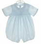 "<img src=""https://p11.secure.hostingprod.com/@grammies-attic.com/ssl/images/blue-sold-1.gif""> NEW Feltman Brothers Blue Smocked Romper with Fagoted Collar"