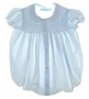 "<img src=""https://p11.secure.hostingprod.com/@grammies-attic.com/ssl/images/blue-sold-1.gif""> NEW Feltman Brothers Pale Blue Smocked Baby Bubble with Lace Edged Collar"