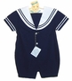 "<img src=""https://p11.secure.hostingprod.com/@grammies-attic.com/ssl/images/blue-sold-1.gif""> NEW Feltman Brothers Navy Blue Sailor Romper with White Collar"