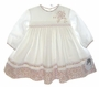 "<img src=""https://p11.secure.hostingprod.com/@grammies-attic.com/ssl/images/blue-sold-1.gif""> NEW Sarah Louise Ivory Smocked Dress with Rose Print Trim"