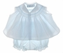 "<img src=""https://p11.secure.hostingprod.com/@grammies-attic.com/ssl/images/blue-sold-1.gif""> NEW Feltman Brothers Pale Blue Smocked Swing Style Diaper Shirt with Matching Diaper Cover"