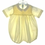"<img src=""https://p11.secure.hostingprod.com/@grammies-attic.com/ssl/images/blue-sold-1.gif""> Feltman Brothers Pale Yellow Smocked Romper with Fagoted Collar"