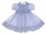 "<img src=""https://p11.secure.hostingprod.com/@grammies-attic.com/ssl/images/blue-sold-1.gif""> NEW Feltman Brothers Blue Striped Smocked Baby Dress with White Embroidery"